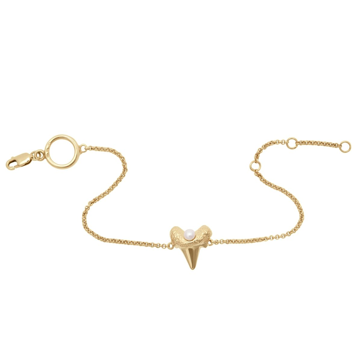 Antipearle Mini Shark Tooth Heart Bracelet Gold