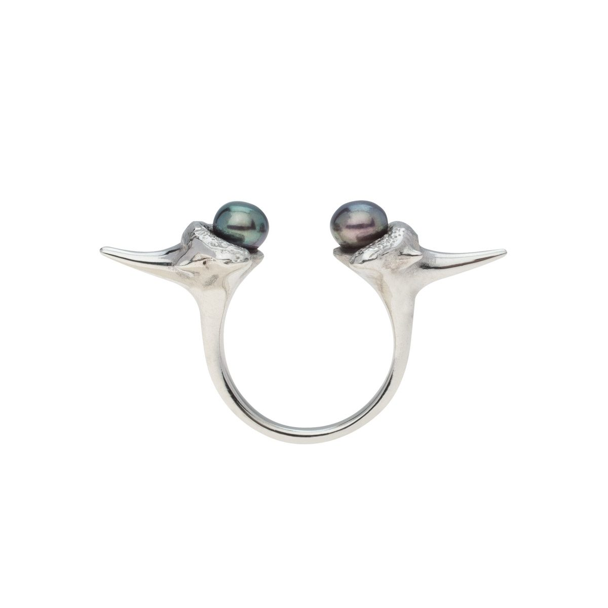 Antipearle Blacktip Pearl Ring Silver