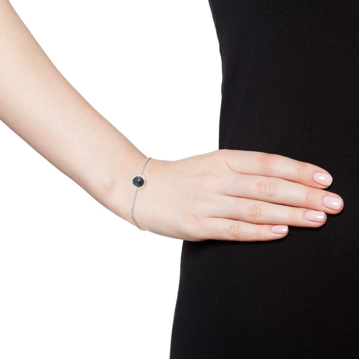Antipearle Circle Dark Pearl Chain Bracelet Silver