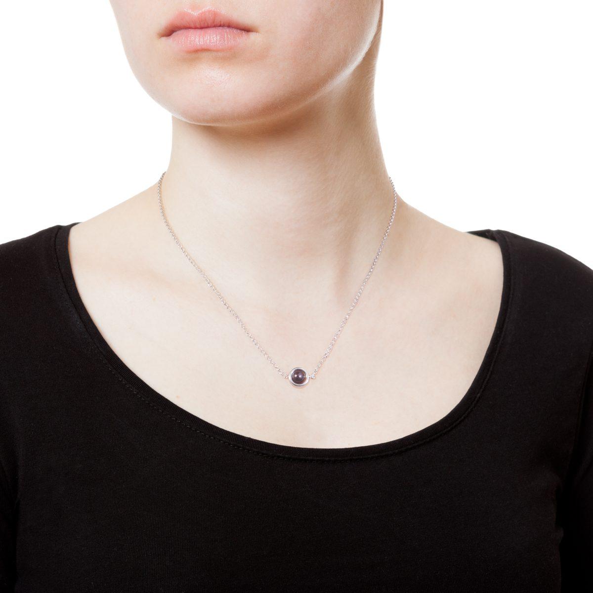 Antipearle Circle Dark Pearl Chain Necklace Silver