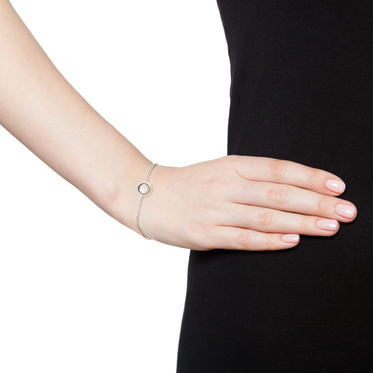 Antipearle Circle Pearl Chain Bracelet White Pearl Silver